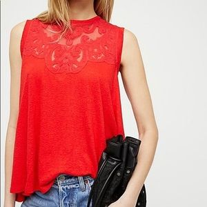 Free People Lace Sleeveless Shirt